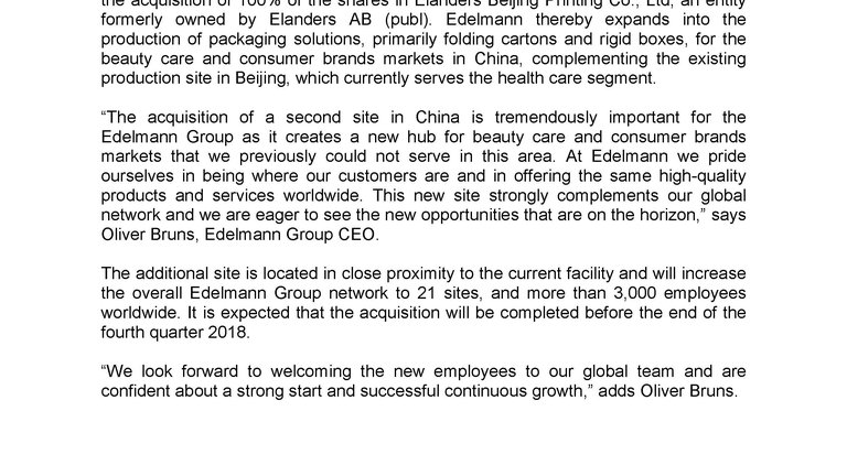Edelmann Group Announces Acquisition of Elanders Beijing